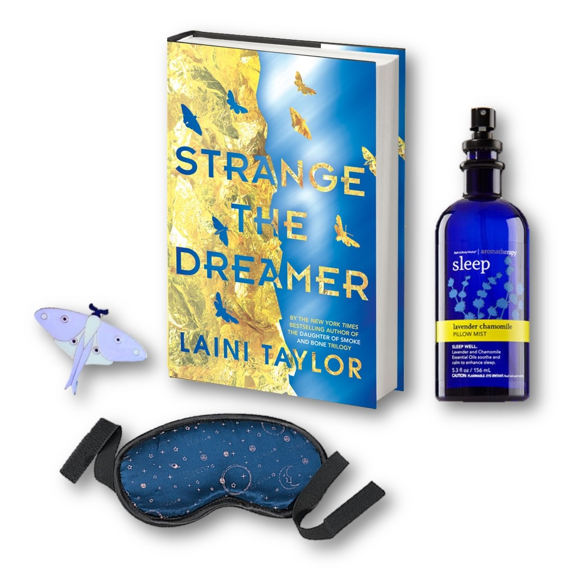 Copy of Strange the Dreamer sleep-mask and aromatherapy pillow sleep mist and a luna moth enamel pin to watch over your dreams!